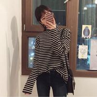 2018韩范秋冬季堆堆领斑马黑白条纹高领打底衫女长袖薄款百搭T恤