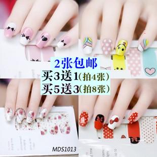 韩国美甲贴纸儿童 持久防水指甲贴纸 3D成品指甲贴饰品卡通全贴