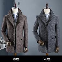 ROEH 新款中年男士中长款羊毛呢子大衣英伦休闲风衣加厚毛呢LZ916
