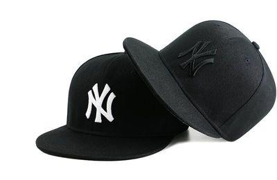 潮牌不可调节平沿帽黑色滑板棒球帽全封口街舞帽子男女ny嘻哈bboy