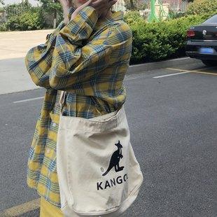 【现货】KANGOL 袋鼠 TOTE BAG 休闲帆布单肩包斜挎包托特包