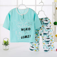 Children's cotton silk pajamas set nine points long sleeves summer baby artificial cotton silk home service air conditioning clothing thin men and women