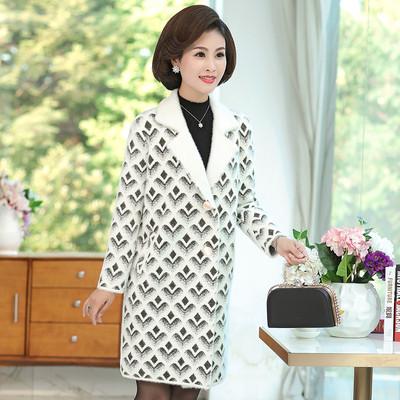 妈妈秋冬韩版方格毛呢外套40岁50中长款中老年女貂毛毛衣呢子大衣