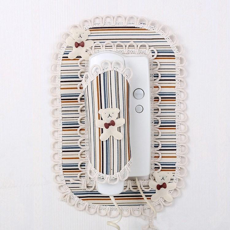 布艺楼宇室内对讲机装饰贴门铃保护罩电话防尘套蕾丝