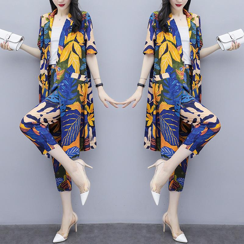 2019夏装新款女装洋气矮个子显高时尚两件套气质小西装时髦套装潮