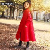 Girls woolen coat 2019 new autumn and winter Korean version of the quilted princess coat Western red long trench coat
