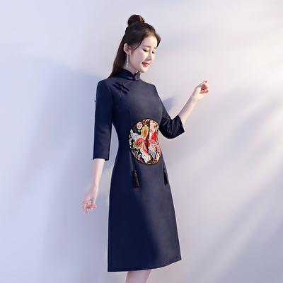 旗袍秋冬季2018新款女毛呢少女改良日常长袖连衣裙中长款端庄大气