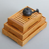 Ceramic tea tray Japanese household bamboo tray Kung Fu tea set round simple solid wood dry bubble mini tea table