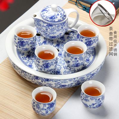 青花瓷茶具套装整套陶瓷防烫双层杯功夫茶具中式青花瓷茶壶茶
