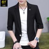 夏季男士小西装男短袖韩版修身七分袖外套潮流休闲薄款中袖西服男