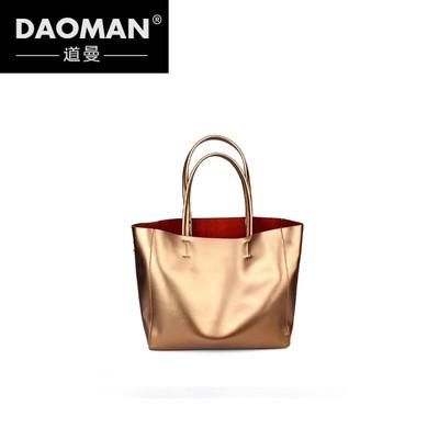 DAOMAN手提包女2018新款手提包真皮大包欧美简约牛皮购物袋HT824