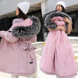 2019 new maternity clothes cotton padded down coat cotton women's long section Korean version of the loose coat pregnancy coat