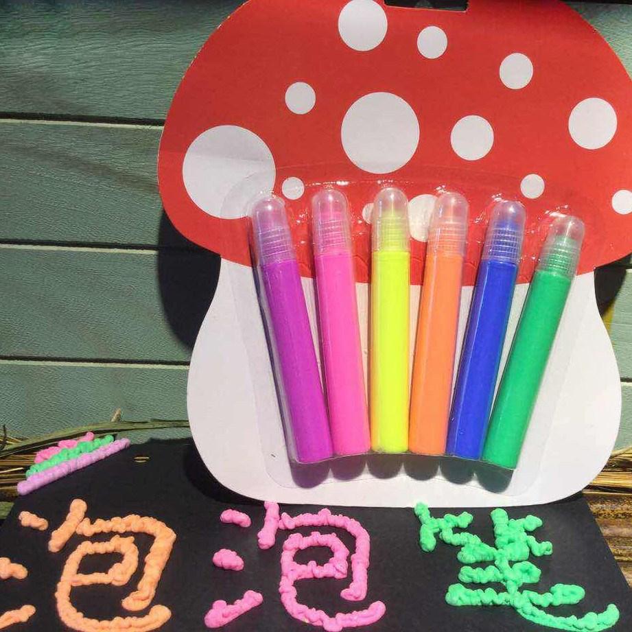 韩国学生用神奇泡泡果冻笔6色入 泡沫染发笔创意立体DIY笔文具