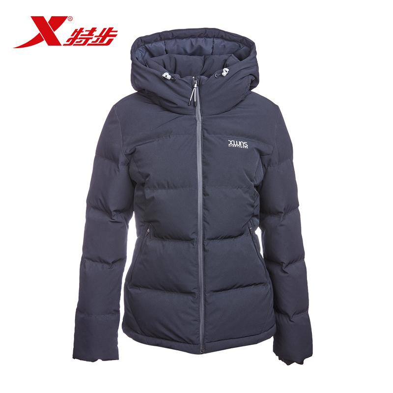 特步女休闲羽绒服冬季新款时尚休闲简约舒适潮流保暖女子外套