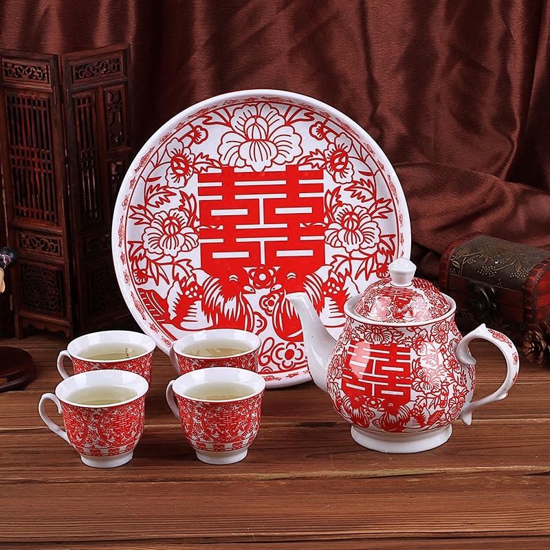 高档结婚红色茶具