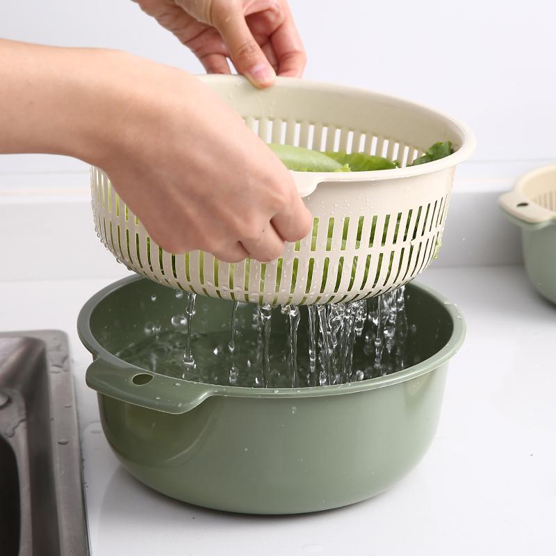 居家日式双层沥水篮洗菜盆客厅水果盘家用小号塑料菜篮子洗菜篮