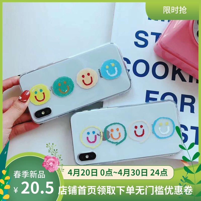 创意笑脸彩色涂鸦透明手机壳适用iphone7plus/6S/7/8/8plus/苹果X