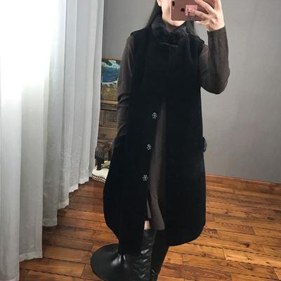 冬羊剪绒马甲女中长款2018新款皮毛一体水貂拼接仿皮草大衣外套