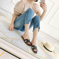 [Wang Xiaodu] tomato sister 18 summer new sheepskin comfortable flat bottom cool slippers 5.14