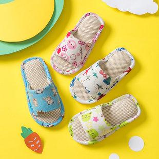 儿童拖鞋小孩家居室内春秋夏冬四季亚麻居家用防滑棉麻布亲子宝宝