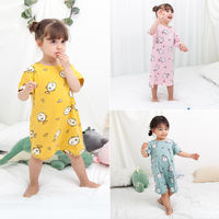 Baby pajamas thin section summer baby robe cotton 1 short sleeve 3 years old boys and girls nightdress children summer air conditioning service