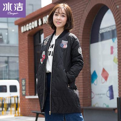 冰洁冬季时尚潮流字母贴画中长款棒球衫女式羽绒服J1601050FF