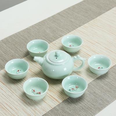 协龙腾青瓷功夫茶具套装带小鱼 龙泉盖碗茶壶茶杯十件套 鱼杯茶具