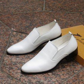 温州皮鞋男士韩版潮流男百搭真皮英伦商务正装尖头男鞋白色休闲鞋
