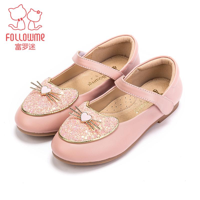 富罗迷童鞋女童皮鞋儿童鞋子18秋季新款学生小皮鞋圆头浅口公主鞋