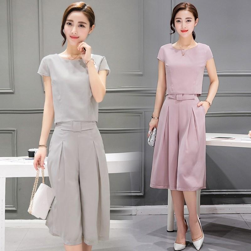 纯色短袖T恤打底衫+格子后开叉背带连衣裙春季新款韩版时尚套装女