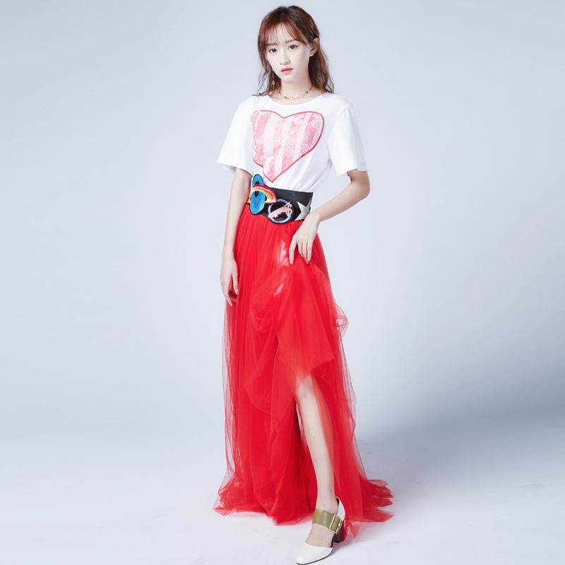 设计师CHICCO MAO爱心T 恤红纱高腰裙舒畅同款2018春夏新品