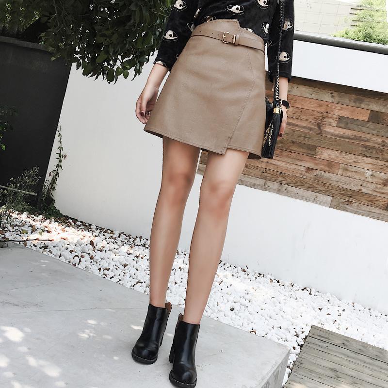 修身显瘦pu皮短裙子黑色高腰半身裙秋季2017新款女韩版百搭a字裙5元优惠券