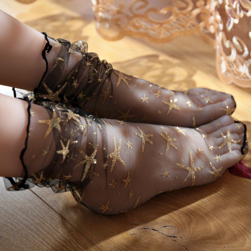3双装 日系春夏季性感蕾丝网纱镂空堆堆袜超薄透气中筒渔网短袜女
