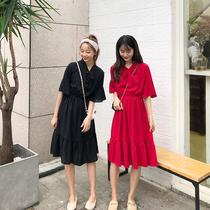 2019夏款女装法式复古裙山本很仙的红色系带蝴蝶结连衣裙打底长裙