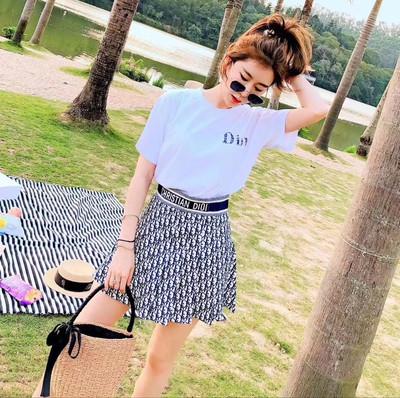 t恤短裙两件套女夏新款简约字母印花圆领宽松上衣显瘦半身裙套装