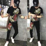 2019 summer new embroidered casual suit men's tide brand Slim short-sleeved two-piece Korean social spirit guy