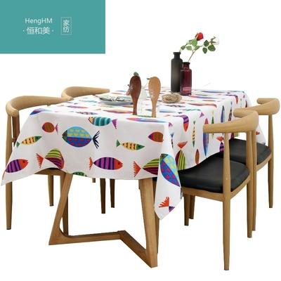 恒和美可爱动物鱼布艺桌布小清新田园简约现代棉麻正方形大圆桌布