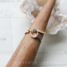 Ideal country / sun / Moon Star * Tanzania blue S925 silver plated gold star ring stacked with rings and two rings.