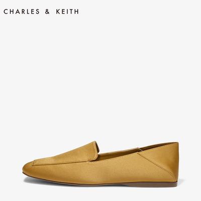 CHARLES&KEITH单鞋女CK1-70390200脚踩简约风舒适方头平跟乐福鞋