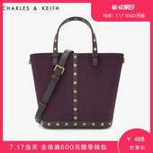 CHARLES&KEITH托特包CK2-30780642金属铆钉拼接手拎子母包