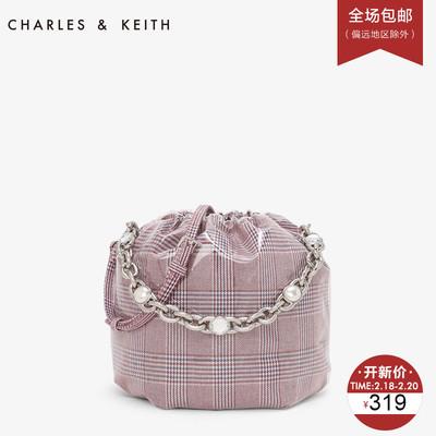 CHARLES&KEITH水桶包CK2-10780671透明格纹女士链条单肩包