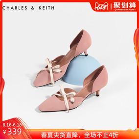 CHARLES&KEITH中跟鞋CK1-60280166系带设计女士浅口奥赛鞋