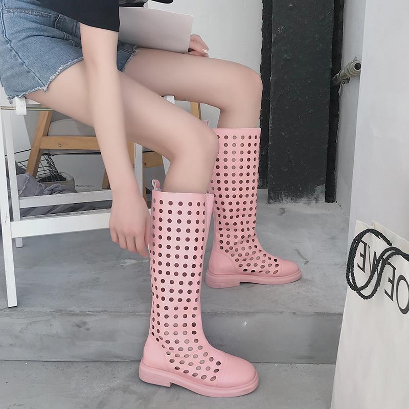 专柜璞百丽靴子女2019夏季高筒靴新款韩版百搭长筒马丁靴平底网靴