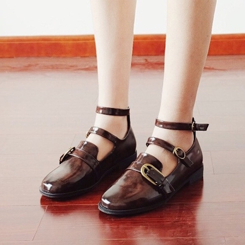 2018新款玛丽珍鞋搭扣圆头平跟单鞋森女学院风女鞋日系复古小皮鞋