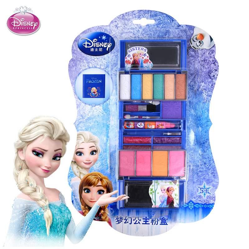 育儿宝迪士尼化妆盒女童 儿童化妆品公主彩妆盒套装安全无毒车生