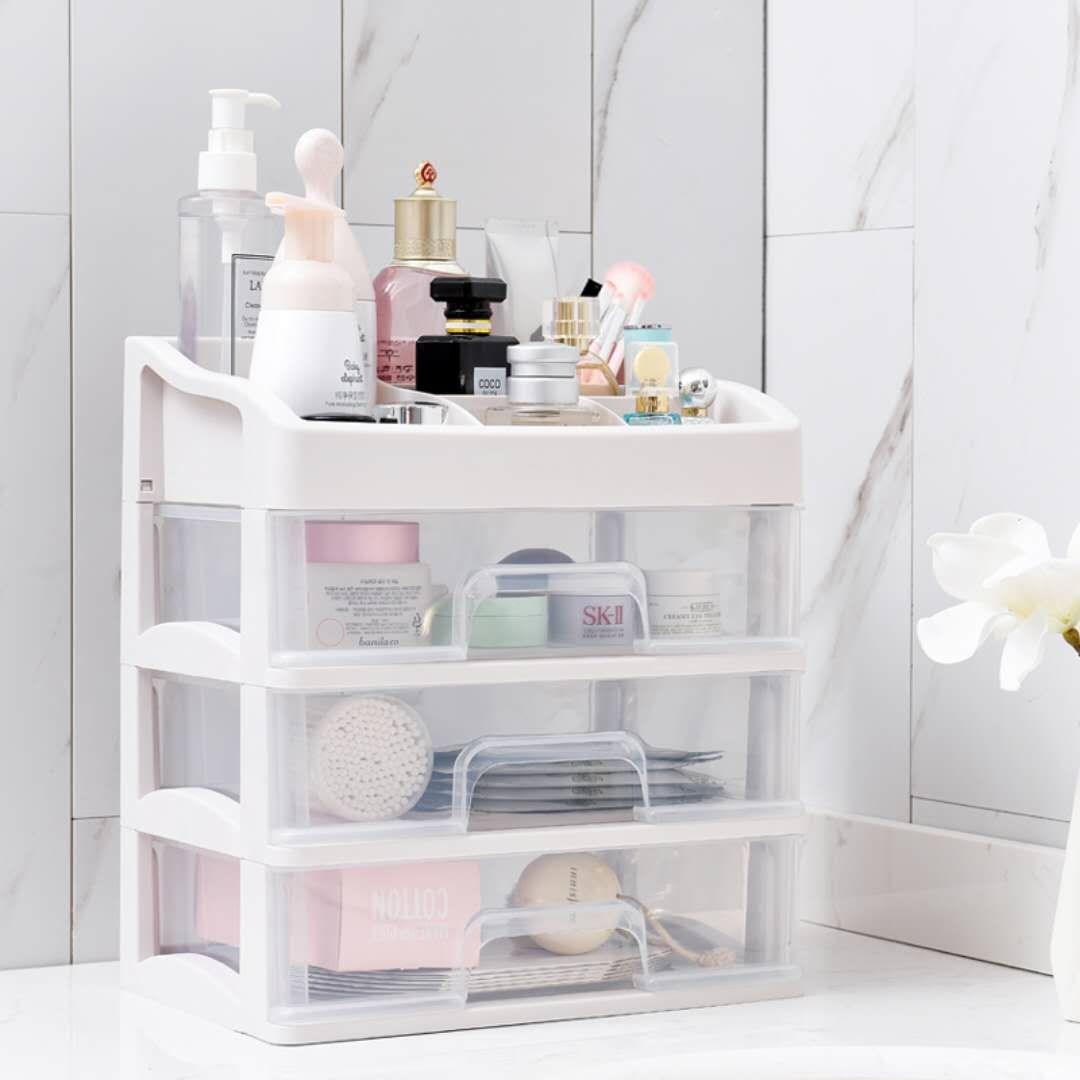 俊晨桌面化妆品收纳盒大号首饰收纳箱梳妆台收纳盒透明塑料整理盒