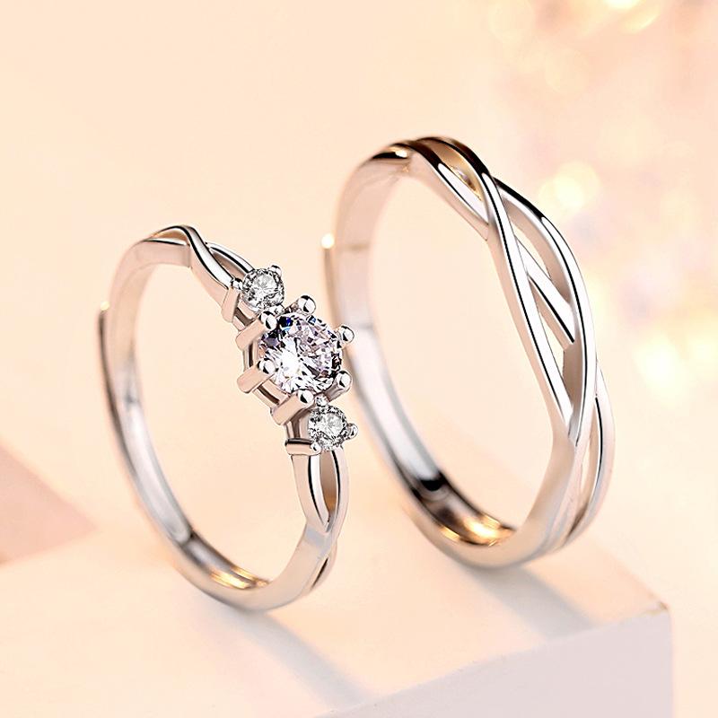 对戒纯银设计活口食指亲肤戒指女简约学生清新森系新品情侣百搭