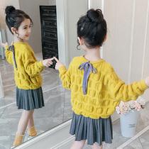 潮童装女童春时尚休闲套头绒衫儿童洋气针织短裙两件套童套装