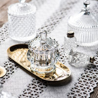 Crystal glass candy 盅 European creative cover candy jar tray fruit candy bucket storage jar creative living room