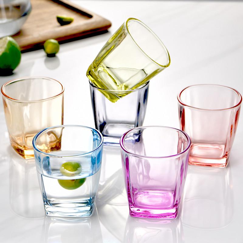 水杯玻璃杯家用套装6只彩色可爱茶杯啤酒杯果汁杯加厚防爆耐高温